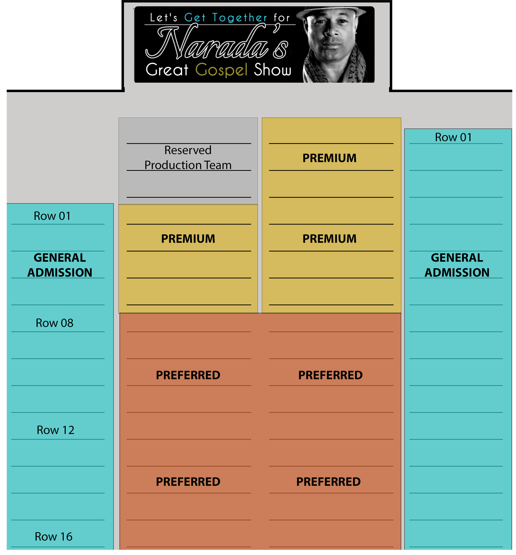 Narada's Great Gospel Seating Chart